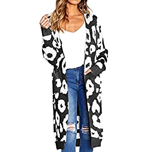 Angashion Women's Long Sleeves Leopard Print Knitting Cardigan Open Front Warm Sweater Outwear Coats with Pocket