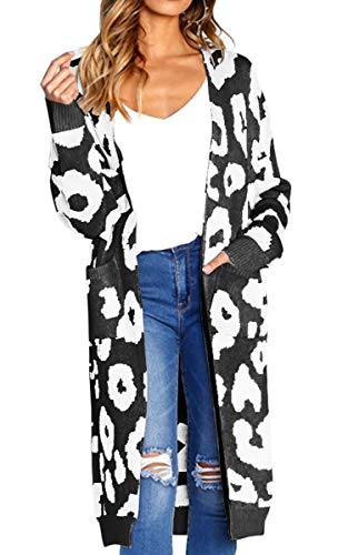 Angashion Women's Long Sleeves Leopard Print Knitting Cardigan Open Front Warm Sweater Outwear Coats with Pocket Black S