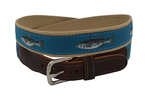 Striped Ribbon Belt (Preston Leather Men's Teal Striped Bass Ribbon Belt Size 38)