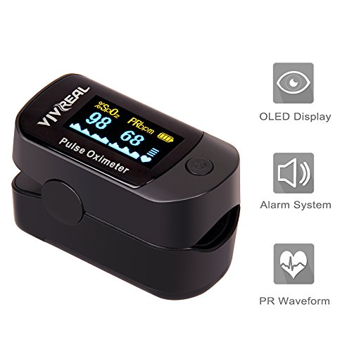 Fingertip Pulse Oximeter - Pulse Oximeter with Alarm System & Pulse Sound Indicate, Blood Oxygen Saturation & Pulse Monitor w/ Carrying Bag, Batteries and Lanyard, OLED Display Portable Pulse Oximeter