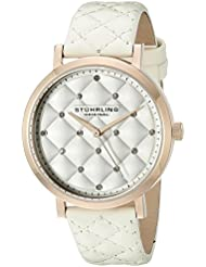 Stuhrling Original Womens 462.04 Audrey Quartz  Swarovski Crystal Rose-Tone Dial Watch with Quilted Leather Band