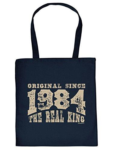 Geschenkidee zum 30. Geburtstag: Unisex Jutetasche/ Einkaufstasche/ Stoffbeutel/ Original since 1984 The Real King