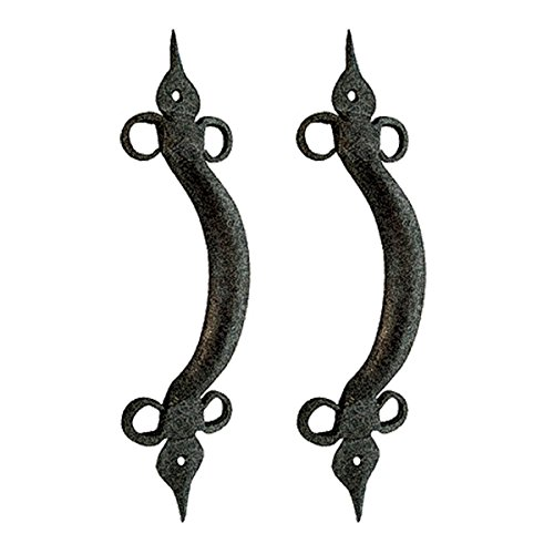 (2 Door Pulls Spear Black Wrought Iron 10 1/2