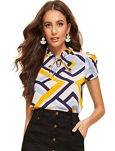 Romwe Women's Print Casual Short Sleeve Bow Tie Blouse Top Shirts Multicolor L