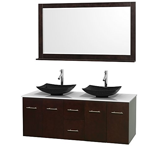 Wyndham Collection Centra 60 inch Double Bathroom Vanity in Espresso, White Man-Made Stone Countertop, Arista Black Granite Sinks, and 58 inch Mirror price