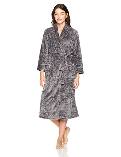 N Natori Women's Plush Melange Robe, Dark Grey Heather, - Fleece Natori Robe