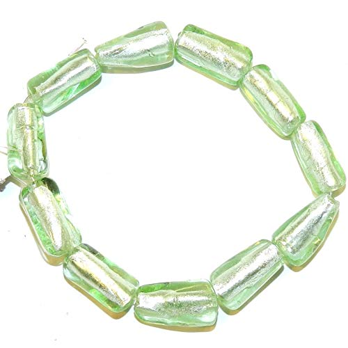 Mint Green Foil Lampwork Glass 17mm Textured Round Tube Beads ()