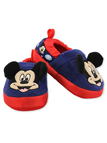 Mickey Mouse Toddler Boy's Plush A-Line Slippers with 3D Ears (7-8 M US Toddler, Navy) ()