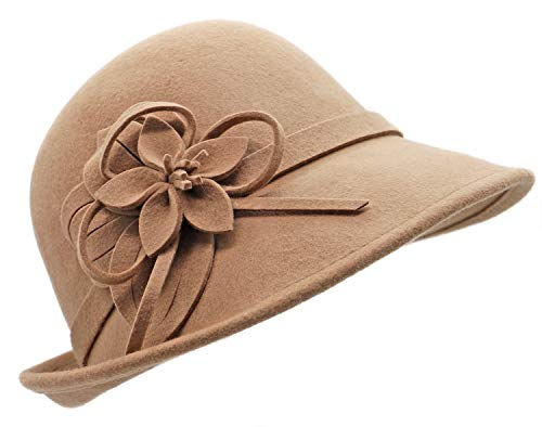 Bellady Women Solid Color Winter Hat 100/% Wool Cloche Bucket with Bow Accent