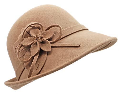 Bellady Women's Elegant Flower Wool Cloche Bucket Bowler Hat,Camel (Bowler Hat For Women)