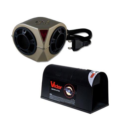 Victor BMRAT3EU Nagetierbekämpfung mit dem innovativen Set 1x Ultraschallgerät, Heavy Duty Sonic Pestchaser und 1x Elektro-Rattenfalle.