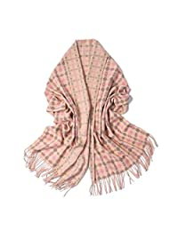 nwn Double-Sided Plaid Scarf Female Winter Korean Version of Cashmere Soft Shawl Thick Warm (Color : C)