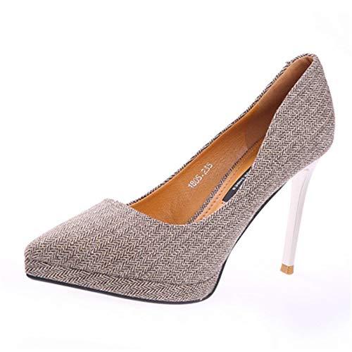 YMFIE Style européen à tempérament Talons Aiguilles à Carreaux Mode Bouche Peu Profonde tempérament à de la Mode des Chaussures Simples Chaussures de Travail Dames Chaussures de Banquet 37 EU|brown 238962