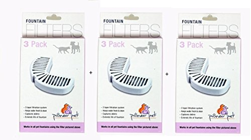 Pioneer Pet Ceramic (Pack of 9, 3 Layer Filtration System Pet Replacement Filters for Ceramic & Stainless Steel Fountains)