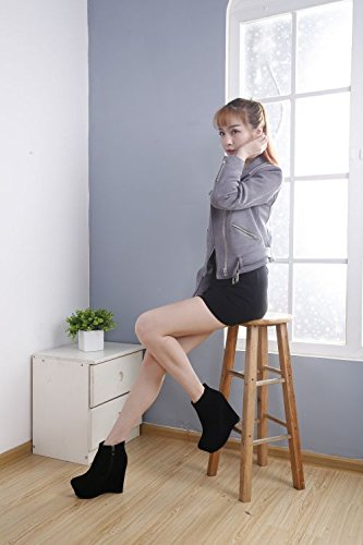 12Cm Wedge Heeled Ultra Female seven Bottom Thick Boot Spring Wedge KHSKX Heel High Boot Leather All Thirty Waterproof Match Black Matte P8q0Xxw