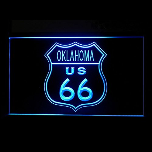120168 Route 66 US Oklahoma Map Legend Road Highway Display LED Light Sign - Oklahoma Led Sign