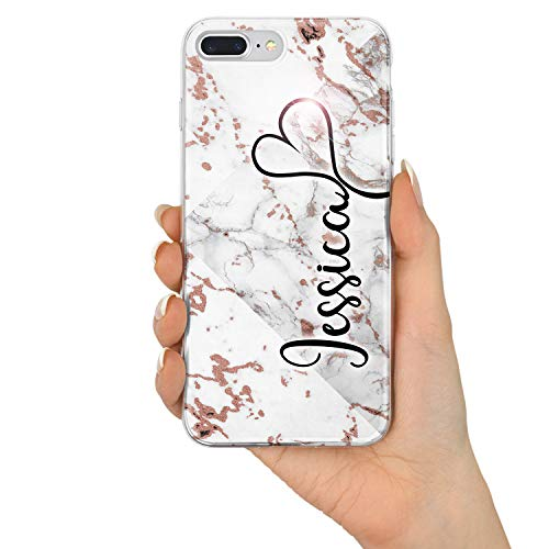 TULLUN Custom Rose Gold Marble ET Personalized Individual Name Initials Text Custom Flexible Soft Gel Phone Case Cover for iPhone Models - Heart Name - for iPhone 7 Plus / 8 Plus