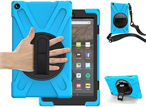 Fire HD 10 Tablet Case for Kids | TSQ 3 Layers Dropproof Silicon Hard Rugged Durable Defender Case with Hand Grip& Carrying Shoulder Strap 360 Rotation Stand | Case for Kindle Fire HD 10, SkyBlue