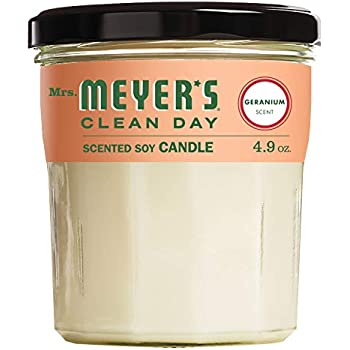 Mrs. Meyers Clean Day Scented Soy Candle, Geranium, Candle, 4.9 ounce