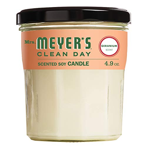 Mrs. Meyer's Clean Day Scented Soy Candle, Small Glass, Geranium, 4.9 oz (Soy Lavender Mrs Meyers Candle)