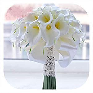 mamamoo 2019 Vintage Red Rose Bouquet with Crystal Waterfall Bridal Pearl White Wedding Bouquet Artificial Flowers Bride Brooch,White Calla Lily 15