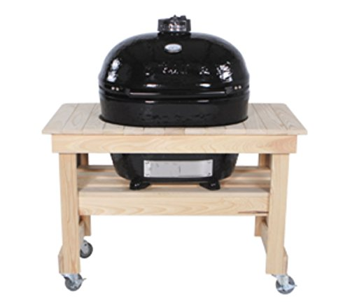 - Primo 602 Compact Cypress Wood Table for Primo Oval XL Grill, 4 Wheels