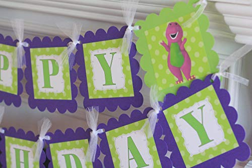 Happy Birthday Purple & Lime Green Barney Purple Dinosaur Theme Banner - Party Pack Specials & Matching Items Available - Favor Tags, Cupcake Toppers etc. ()