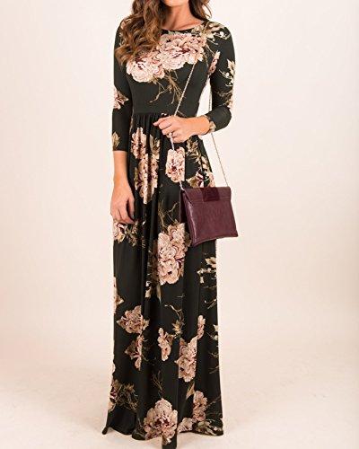 Dress Sleeve Floral Dresses Maxi Long Pockets Black2 Fall Casual Kathemoi Loose Long Womens tH5Sqwxta