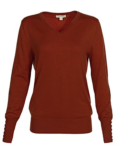 Luna Flower Women's Classic Basic Solid V-Neck Knit Long Sleeve Ribbed Button Details Tops Pullovers Sweaters RUST - Online Return Macys