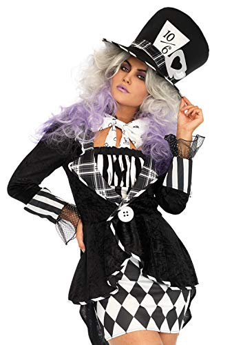 Leg Avenue Women's Wonderland Black and White Mad Hatter Costume, Medium/Large