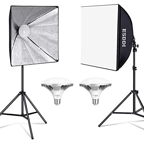 ESDDI Softbox Photography Lighting Kit Photo Studio Light with 2 X 450W 5400K LED Bulbs 2 X 50 X 50 cm Reflectors and…