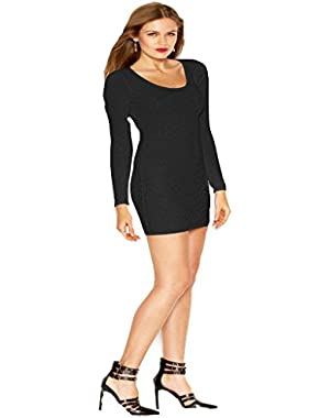 Guess Long-Sleeve Textured Body-Con Dress Black Medium