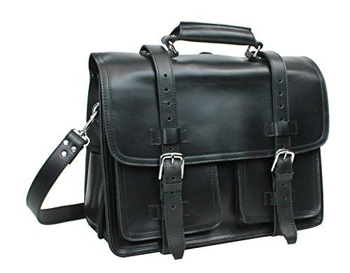 Vagabond Traveler 18'' CEO Heavy Duty Full Grain Leather Large Briefcase Backpack. Heavy 10LB L31. Black by Vagabond Traveler