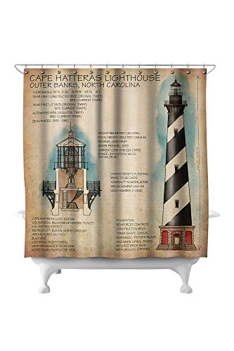 Lantern Press Outer Banks, North Carolina - Cape Hatteras Lighthouse Technical 48403 (74x74 Polyester Shower Curtain)