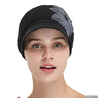 Bamboo Fashion Hat for Woman Daily Use with Brim Visor, Hats for Cancer Chemo Patients Women (Black with Grey Flower)