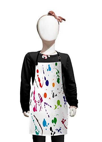 Lunarable Colorful Kids Apron, Abstract Paint Splashes on White Background Expression Creativity Theme, Boys Girls Apron Bib with Adjustable Ties for Baking Painting, Kids Size, Green White