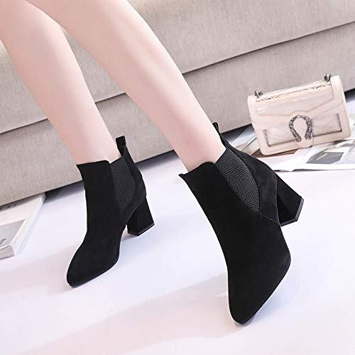 tacón of Winter de Deep Elastic and Thick Pointed zapatos Mouth Sets alto Heels Feet Shoes Single High Shoes Black Yukun Shoes Suede Autumn Women's with qEAawxx8