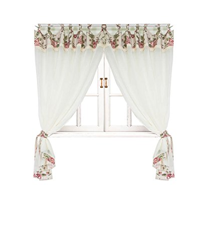 Provence Cotton Sheer Curtains with Piping and Lace in French Country Style for Kitchen, Bedroom, Living Room. 33'' X 57', Set of 2 Panels with 2 Tiebacks, Pink Rose
