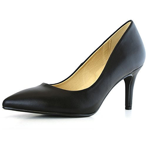 DailyShoes Women's Comfortable Elegant High Cushioned Low Heels Pointy Close Toe Stiletto Pumps Shoes, Black PU, 8 B(M) - High Shoes Heel Pointy