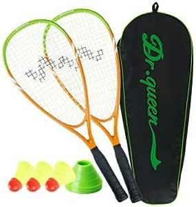 DECOQ Aluminum Speed Badminton Set Speed Baminton Rackets with Speed Birdies and Plastic Cones