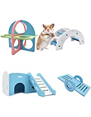 Hamster Toys Hamster House Exercise Rings Hamster Seesaw and Climbing Ladder Play Toy for Small Animals(4pcs Blue)