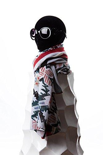 Grand Foulard Écharpe Fantaisie Multicolore Coton/Viscose, avec Motif Abstraits Effet Lin, Blanc Noir Rouge
