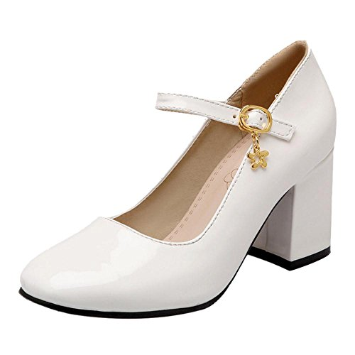 Heel Bianco Shoes Coolcept Women Square Court TfPqwqW8BE