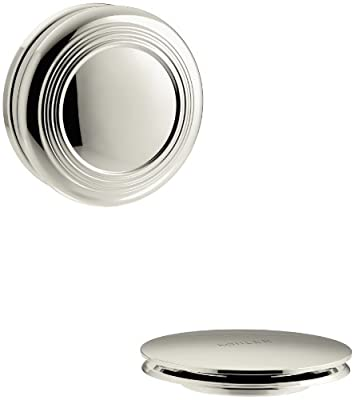 KOHLER K-T37396-SN PureFlo Cable Bath Drain Trim with Traditional Push Button Handle, Vibrant Polished Nickel