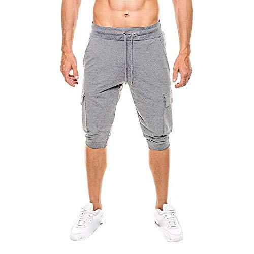 ALIKEEY es Cortos Casuales para Hombre La Moda Bolsillos es Sólidos del Estilo Slim-Fit es Deportivos Tejanos Gris Oscuro