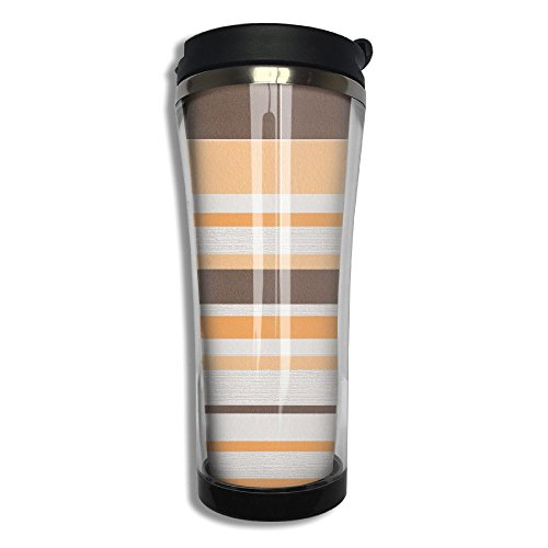 Peach Orange Yellow Beige Stripes Flip Top Lid Double Wall Stainless Steel Cup Hot Cold Tumbler Liquid Tight Travel Coffee Mug Vacuum Sealed Drink Bottle