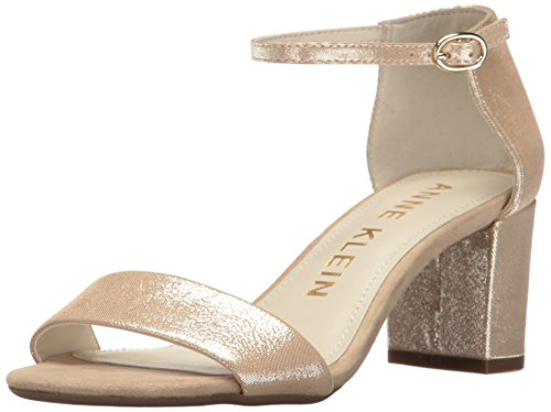 Anne Klein Women's Camila Leather Heeled Sandal, Light Natural/Light Silver, 6 M US by Anne Klein