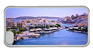 Cheap iphone personalize cover Tilt shift photography bay city Greece boats house PC Transparent for Apple iPhone 5C
