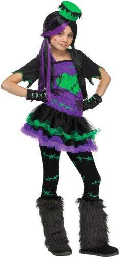 Frankenstein Girl Costume Ideas (Tween Girl's Funkie Frankie Costume: Child's Frankenstein Halloween Costume (8-10 with Bracelet for Mom))