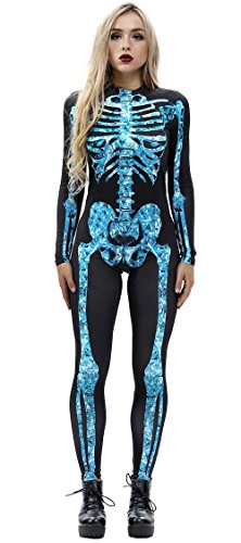 JomeDesign Womens 3D Skeleton Halloween Costumes Cosplay Jumpsuit Bodysuit Blue Skull X-Large